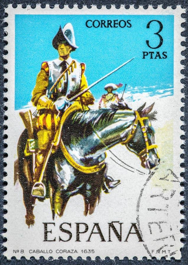 O selo impresso na Espanha mostra uma caixa do cavalo de 1635 imagem de stock royalty free