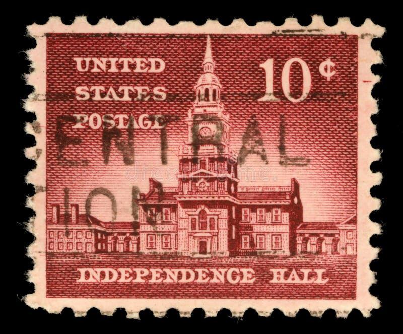 O selo impresso nos EUA, nações aliadas emite, independência Salão das mostras em Philadelphfia foto de stock