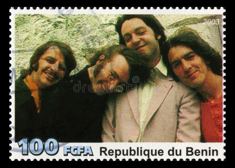 O selo postal de Beatles de Benin imagens de stock royalty free