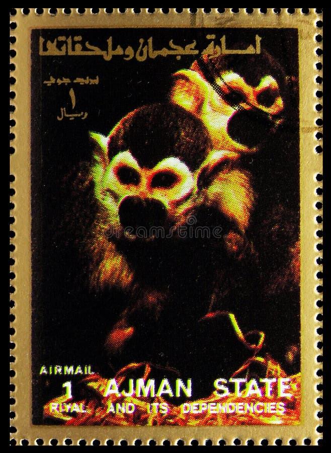 O selo postal impresso em Ajman (Emirados Árabes Unidos) mostra Animal, Mammals, large format serie, por volta de 1973 fotos de stock