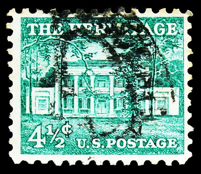 O selo postal impresso nos Estados Unidos mostra The Hermitage (1835), Nashville, Tennessee, Liberty Issue - Precancels serie, ci fotografia de stock