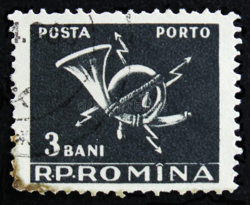 O selo postal romeno mostra o chifre de cargo, cerca de 1967 fotos de stock royalty free