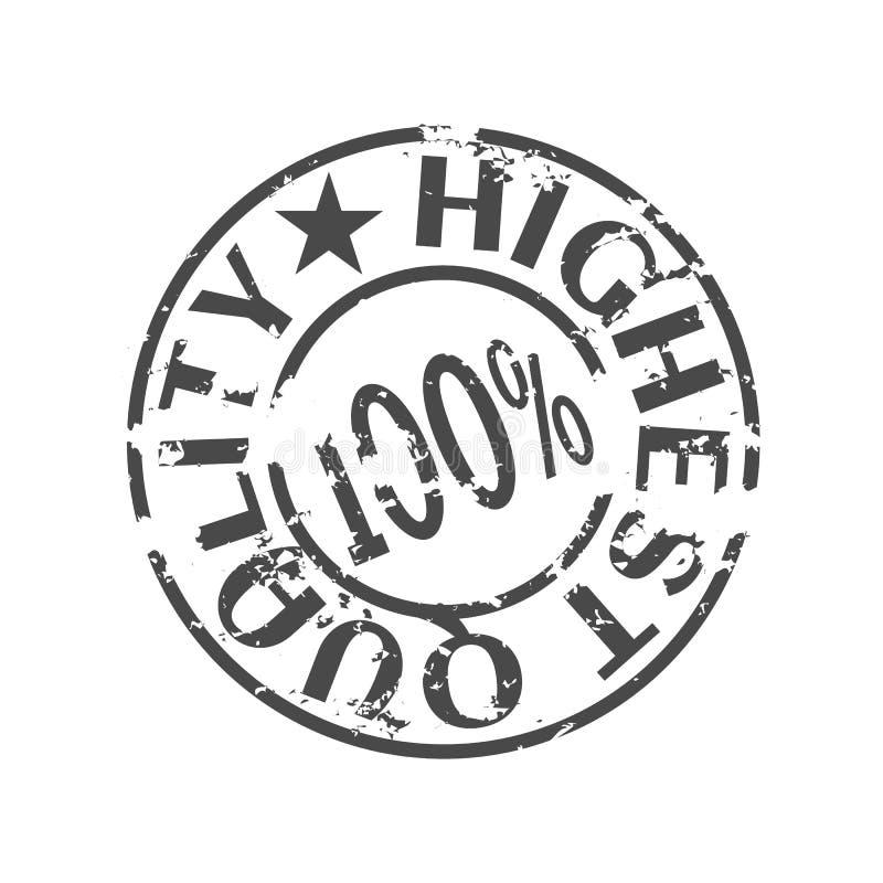 O selo preto tem cem por cento o mais de alta qualidade ilustração stock