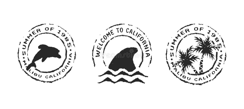 O selo retro da etiqueta da praia de Califórnia ajustou-se para o verão ilustração stock