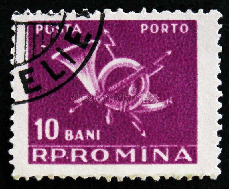O selo romeno mostra o chifre de cargo, cerca de 1967 imagens de stock