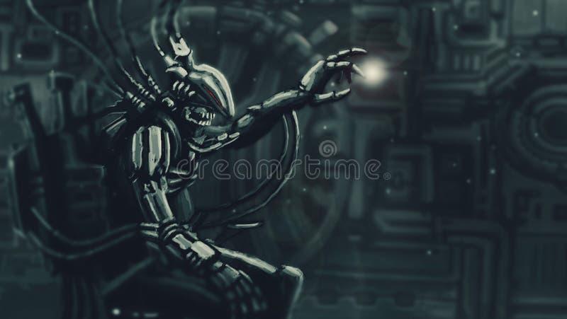 O senhor escuro senta-se no terno em seu trono do ferro ilustração stock