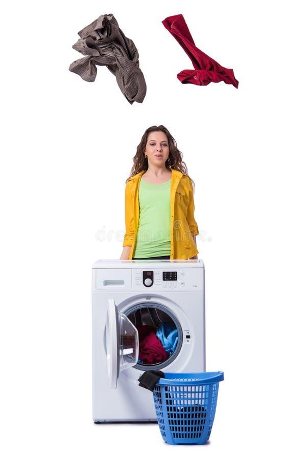 O sentimento da mulher sressed após ter feito a lavanderia suja fotografia de stock royalty free