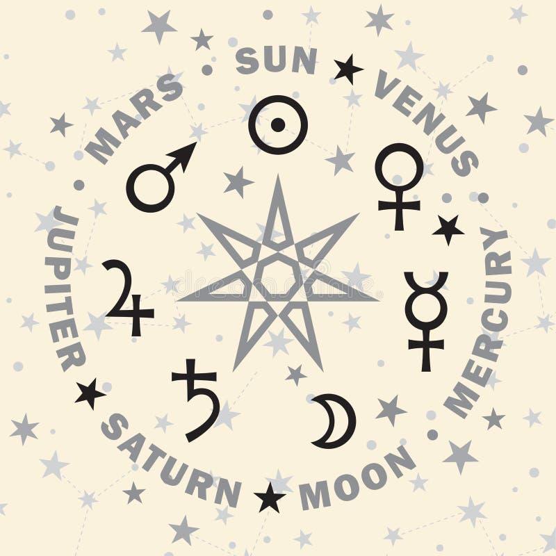 O Septener Estrela dos mágicos Sete planetas da astrologia ilustração do vetor