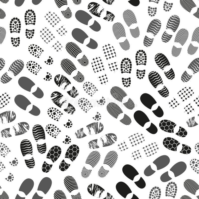 O ser humano do Grayscale calça o vário único teste padrão sem emenda eps10 da pegada ilustração royalty free