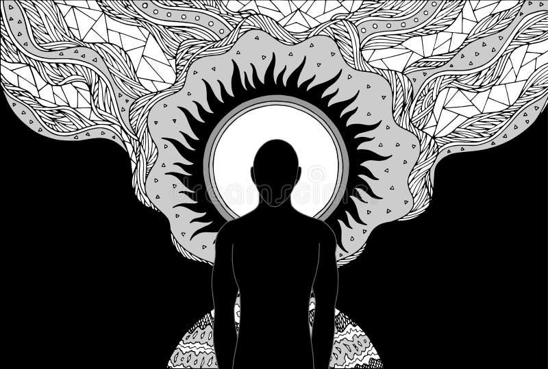O ser humano e a energia do espírito conectam ao vetor da arte abstrato do poder do universo ilustração royalty free