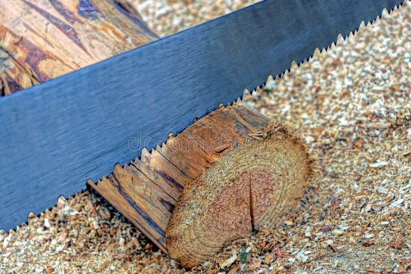 O serrote do metal encontra-se em um log marrom de madeira aparado fotografia de stock royalty free