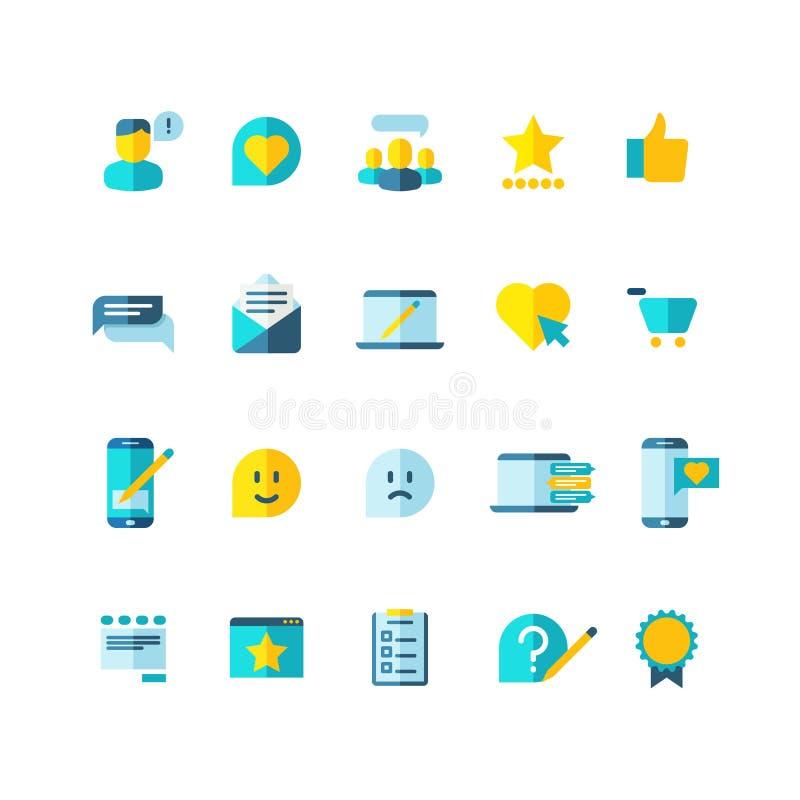 O serviço ao cliente, lealdade dos clientes, classificação, revê os ícones lisos do vetor ajustados ilustração stock