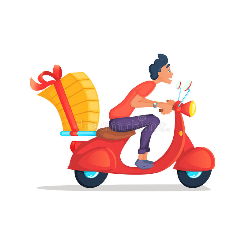 O serviço da motocicleta do 'trotinette' do passeio do menino de entrega, ordem, transporte, rápidos mundiais e transporta livre  ilustração stock