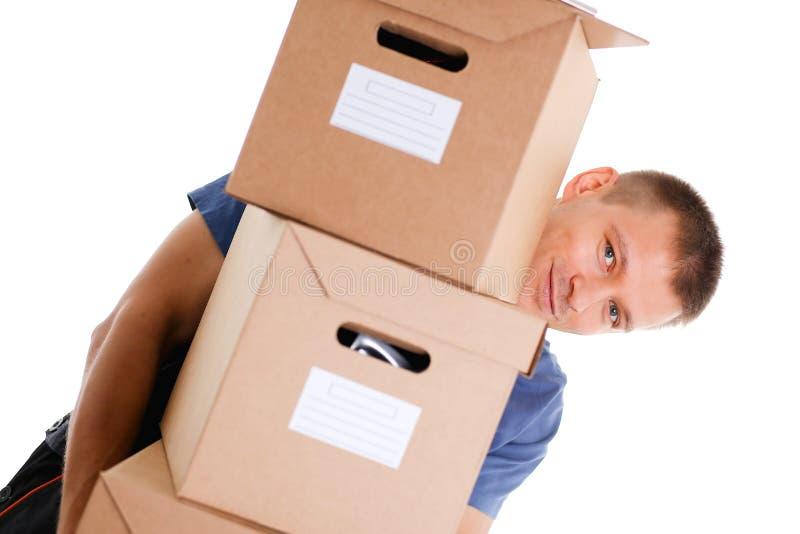 O serviço de entrega do correio do especialista leva caixas imagem de stock royalty free