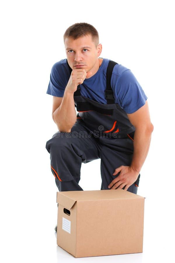 O serviço de entrega do correio do especialista leva caixas fotografia de stock royalty free