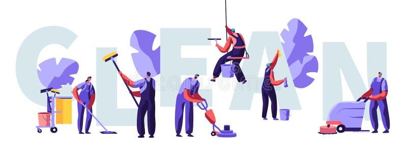 O serviço de líquidos de limpeza profissionais trabalha o conceito Caráteres no uniforme com equipamento de limpeza, esfregando,  ilustração do vetor