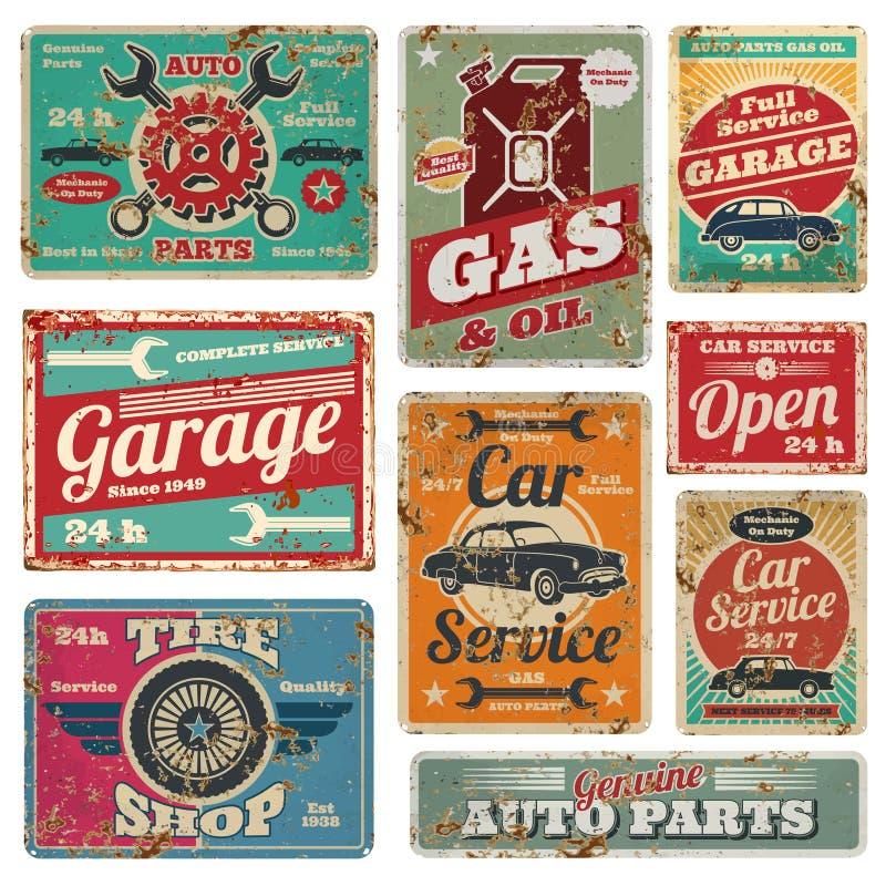 O serviço e o posto de gasolina do carro do vintage vector sinais do metal ilustração royalty free