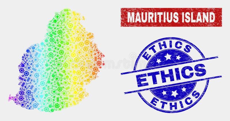 O serviço espectral Mauritius Island Map e as éticas riscadas carimbam selos ilustração stock