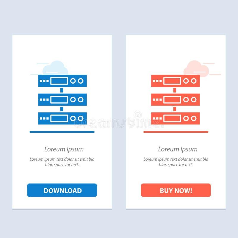 O servidor, dados, armazenamento, nuvem, arquiva a transferência azul e vermelha e compra agora o molde do cartão do Widget da We ilustração royalty free