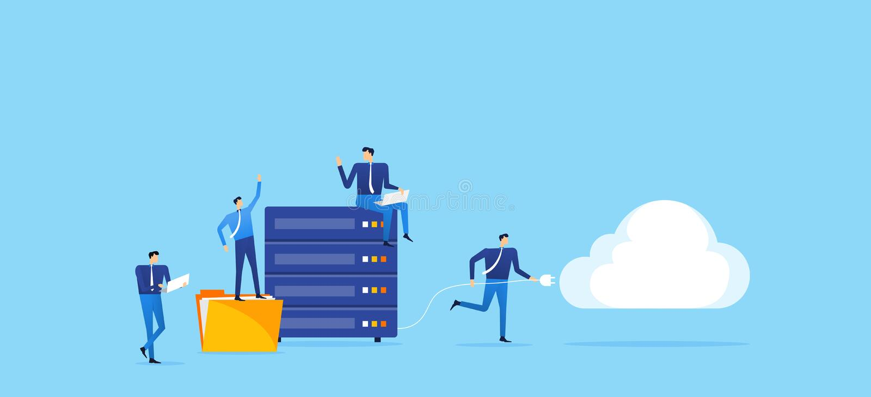 O servidor do armazenamento da tecnologia do negócio conecta à computação da nuvem ilustração stock