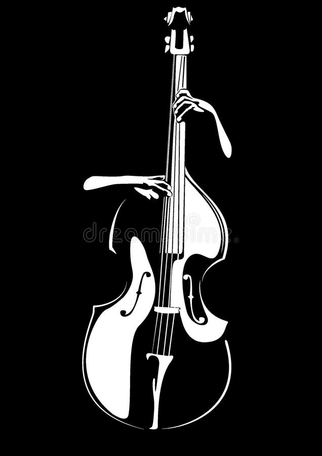 O seu contrabaixo do baixista as mãos e Vetor ilustração do vetor