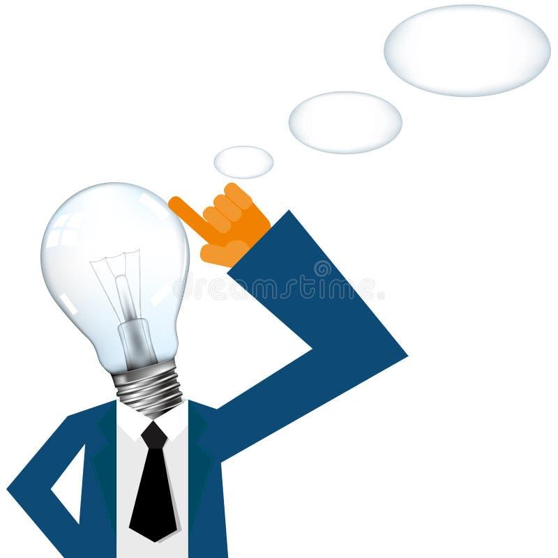 O seu principal completamente das grandes ideias, cabeça é composto de uma ampola ilustração do vetor
