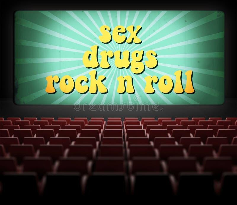 O sexo, as drogas e a rocha n rolam a tela de filme ilustração stock