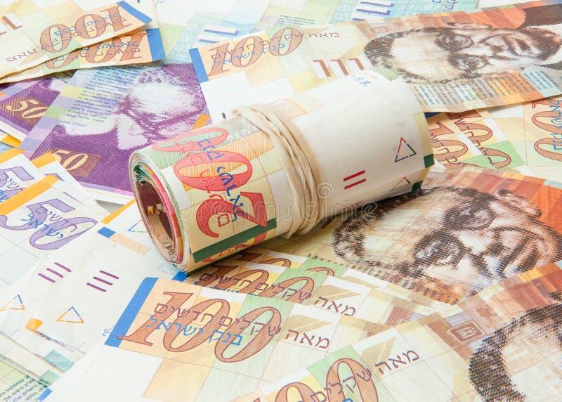 O shekel israelita nota o fundo imagens de stock royalty free