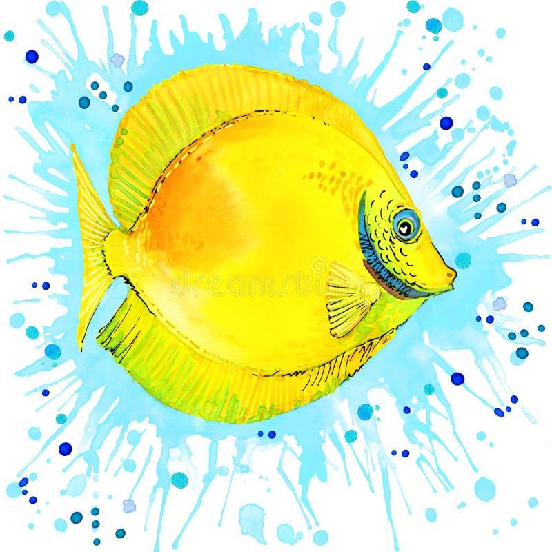 O shell do mar no mar envia watercolo ilustração stock