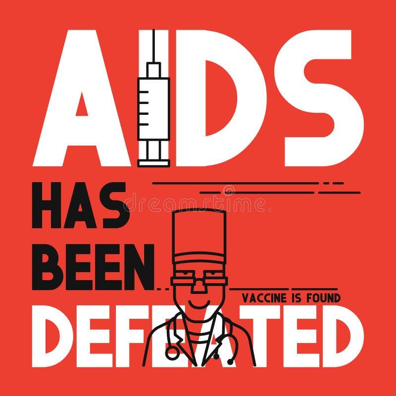 O SIDA foi derrotado Bandeira lisa do conceito médico ilustração royalty free