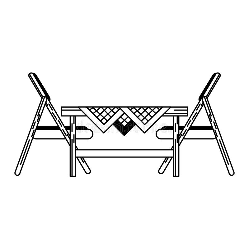 O sideview de madeira da cadeira isolou preto e branco ilustração do vetor