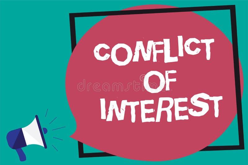 O significado do conceito do conflito de interesses do texto da escrita que discorda com o alguém sobre objetivos ou alvos quadro ilustração stock