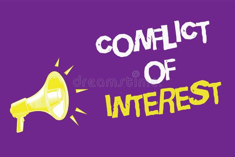 O significado do conceito do conflito de interesses do texto da escrita que discordam com o alguém sobre objetivos ou os alvos tr ilustração stock