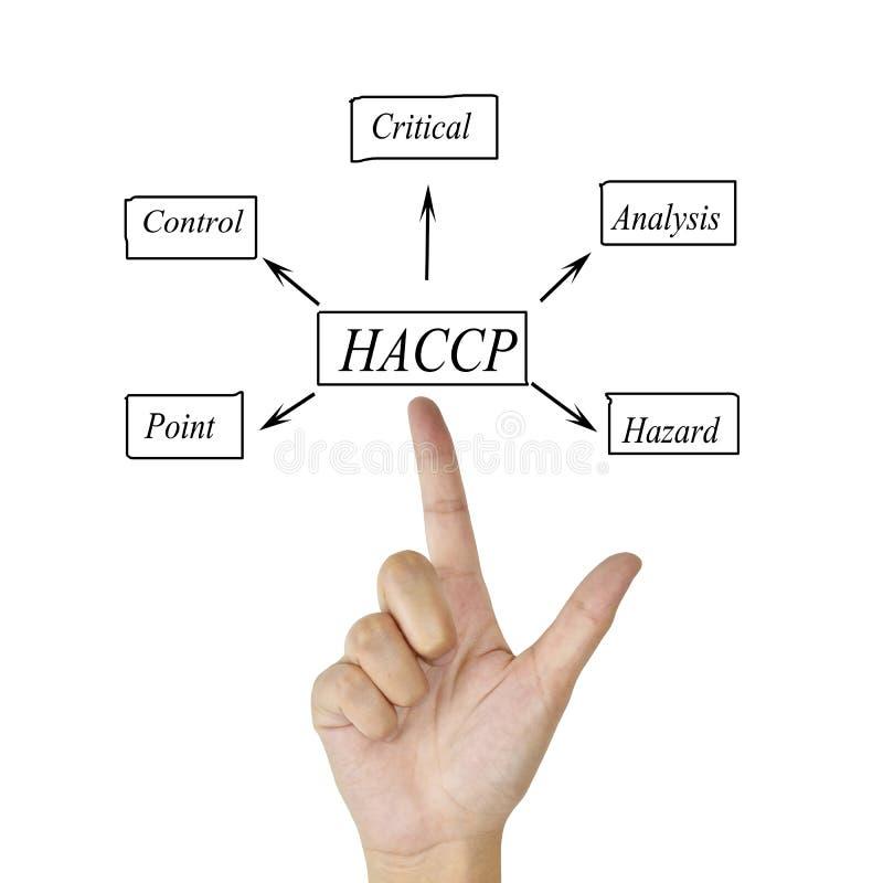 O significado do conceito de HACCP (análise de perigo de pontos de controle críticos) um princípio para usado na fabricação fotos de stock