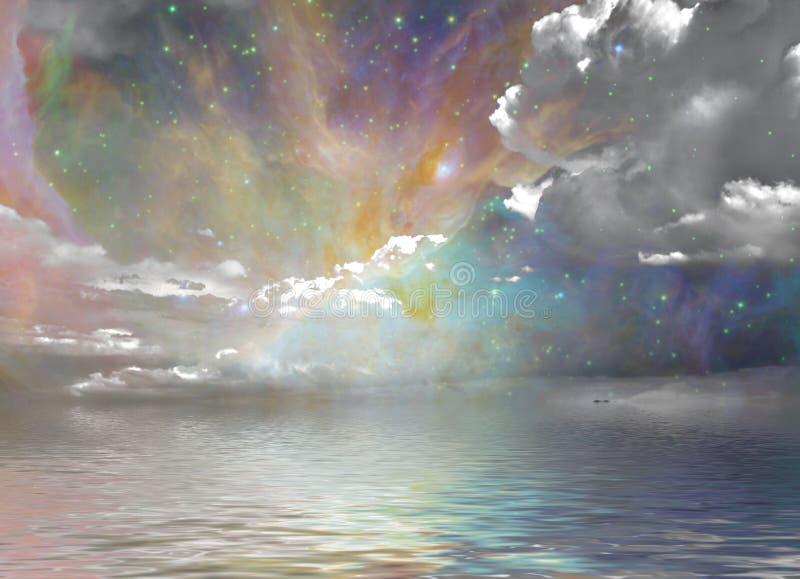 O silêncio molha o céu estrelado ilustração do vetor