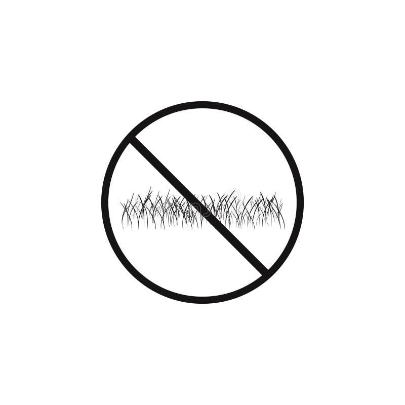 o sinal é proibido andar no ícone do gramado O elemento do perigo assina o ícone Ícone superior do projeto gráfico da qualidade S ilustração stock