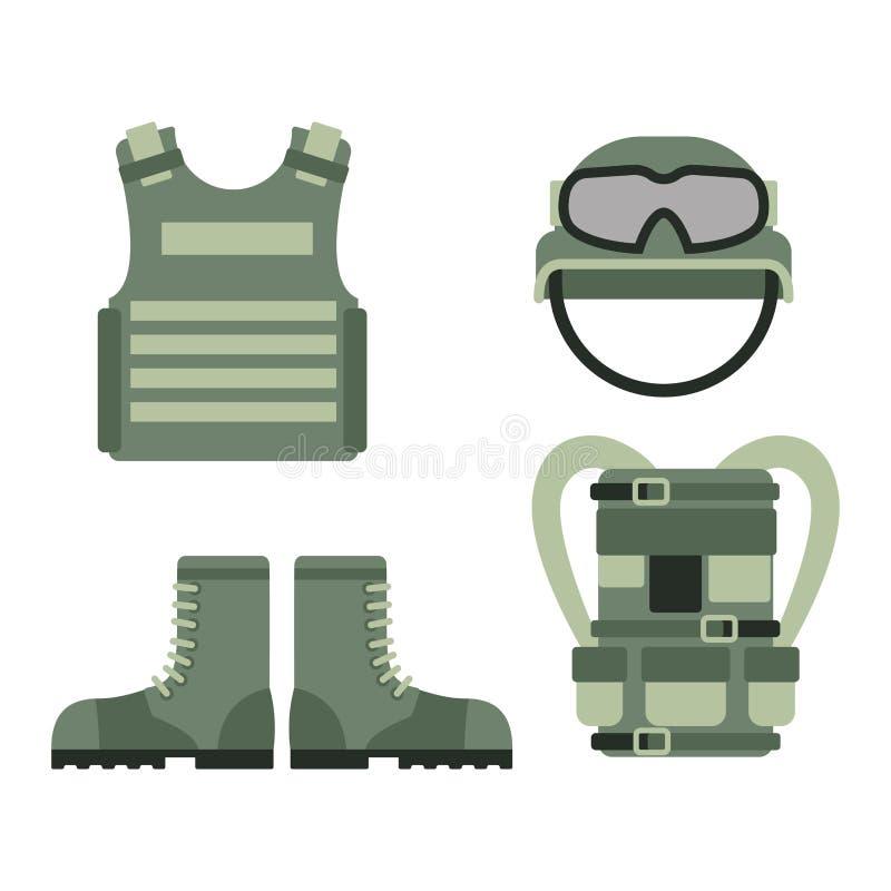O sinal americano militar da camuflagem da marinha da munição do lutador e as forças ajustadas da armadura dos símbolos das armas ilustração stock