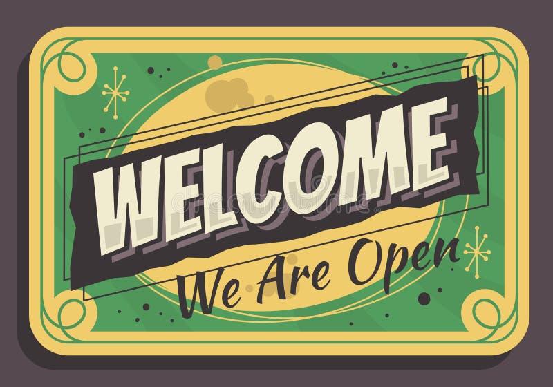 O sinal bem-vindo nós somos vintage tipográfico aberto projeto influenciado do vetor do sinal do negócio ilustração royalty free