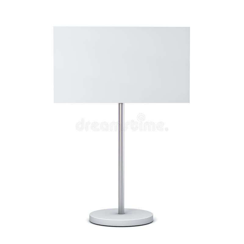 O sinal branco vazio com zombaria da placa do suporte do polo acima da placa ou de anunciar do signage da informação o quadro de  ilustração royalty free