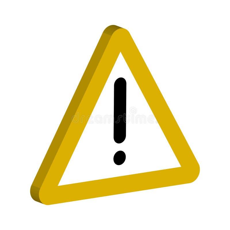 o sinal 3D das notificações, o triângulo amarelo e um ponto de exclamação vector observações importantes do símbolo ilustração stock