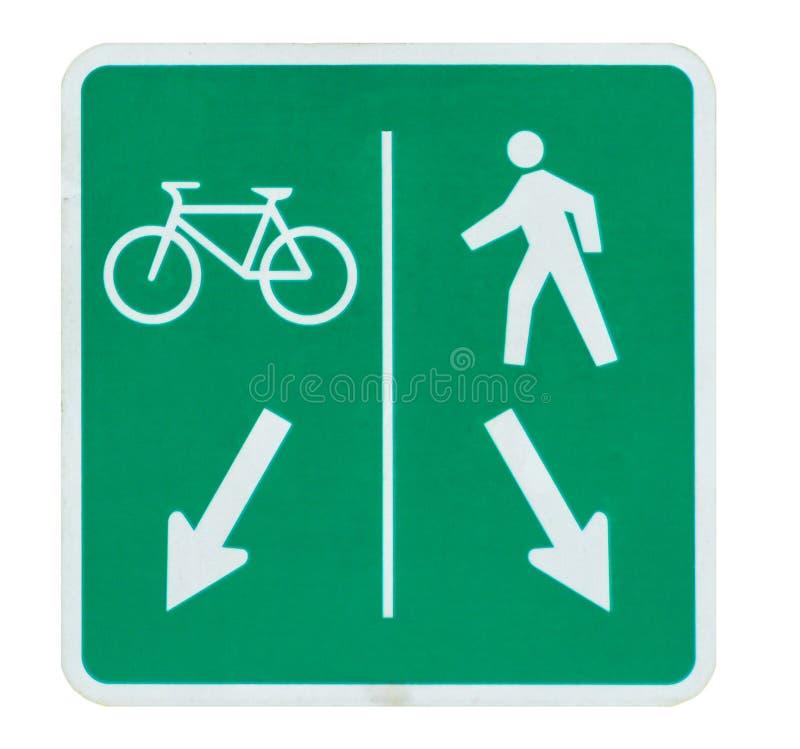 O sinal da bicicleta e do pedestre compartilhou da rota isolada no branco foto de stock