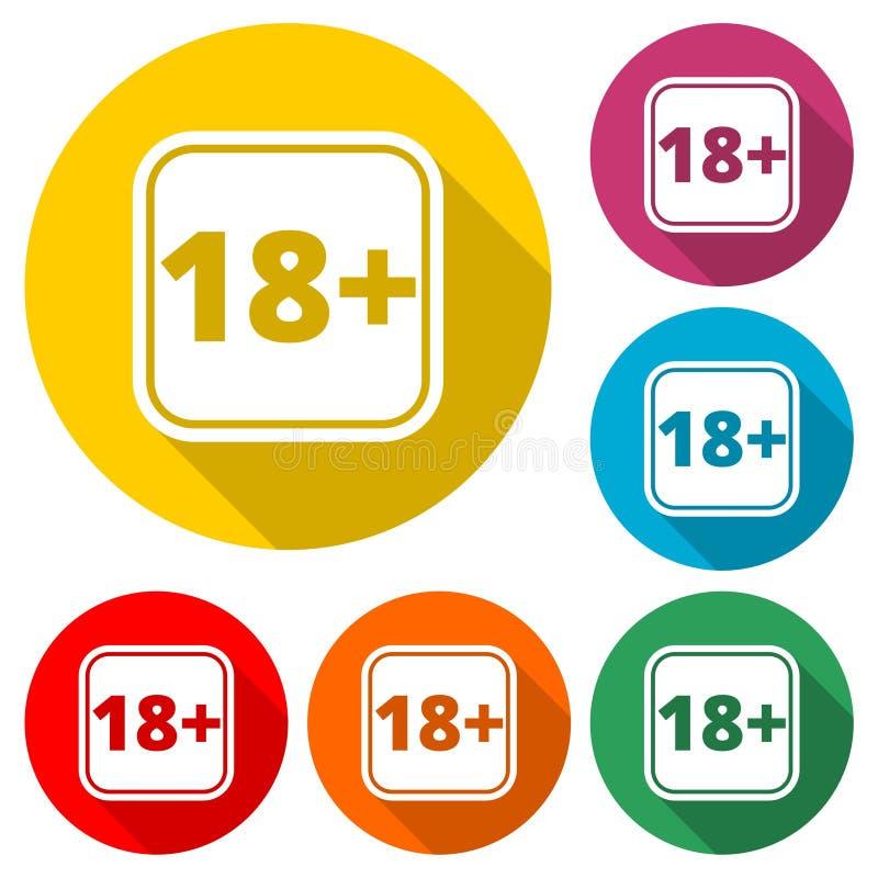 o sinal da limitação da idade 18+, Vector o ícone dezoito com sombra longa ilustração do vetor