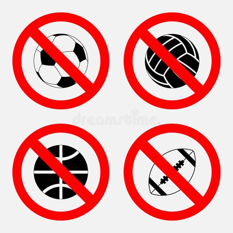 O sinal da proibição ostenta o jogo, nenhum jogo, basquetebol, futebol ilustração royalty free