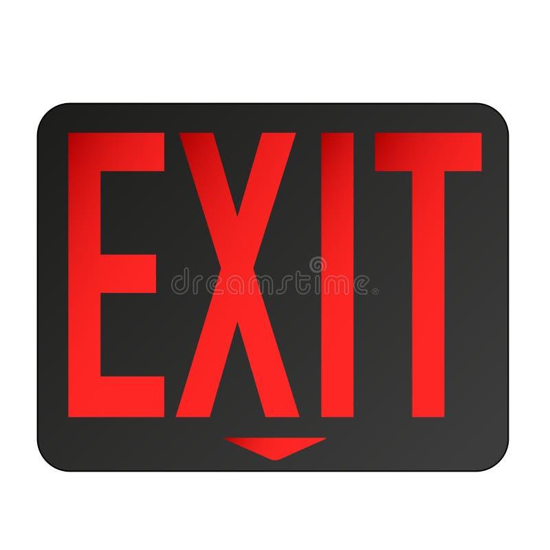 O sinal da saída de emergência iluminou o fundo branco vermelho ilustração royalty free