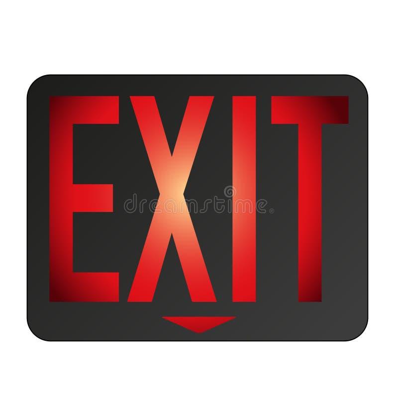 O sinal da saída de emergência iluminou o fundo branco vermelho ilustração stock
