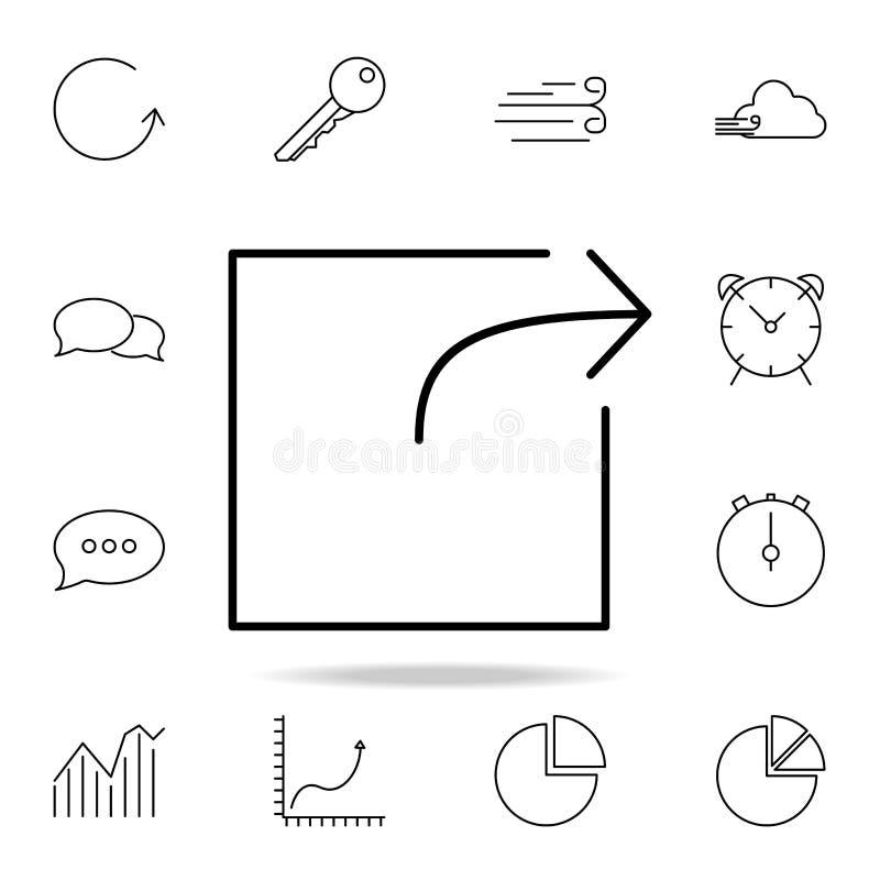 o sinal da saída de uma seta de um ícone quadrado Grupo detalhado de ícones simples Projeto gráfico superior Um dos ícones da col ilustração royalty free