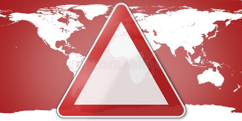 O sinal de aviso vermelho 3d do mapa do mundo rende Elementos desta pele da imagem ilustração royalty free