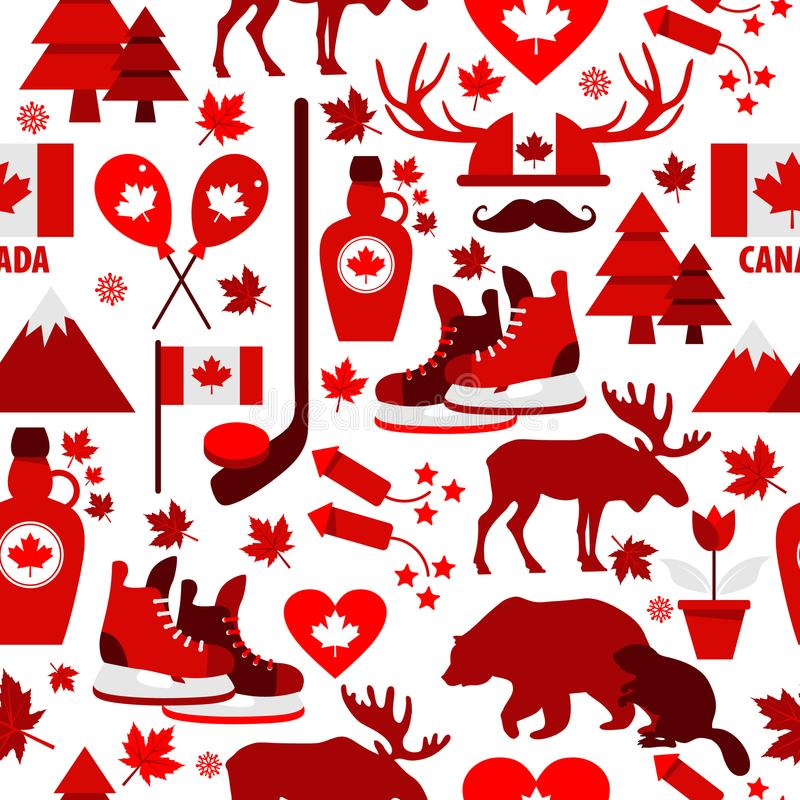 O sinal de Canadá e o símbolo, ícones lisos dos elementos do Informação-gráfico ajustaram-se no teste padrão sem emenda ilustração do vetor