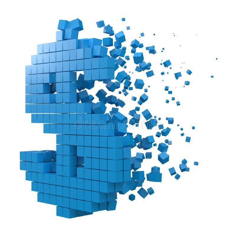 O sinal de dólar deu forma ao bloco de dados versão com cubos azuis ilustra??o do vetor do estilo do pixel 3d ilustração royalty free