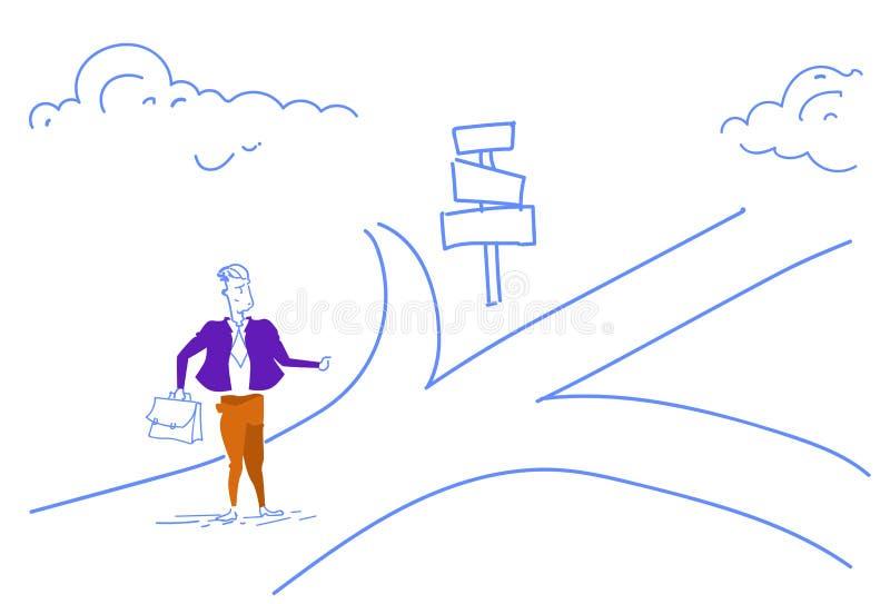 O sinal de estrada ereto do homem de negócios confuso escolhe a garatuja do esboço da seta do quadro indicador da maneira do sent ilustração royalty free